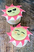 Summer cupcakes decorated with suns