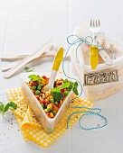 Pasta salad with peas, sweetcorn and tomatoes