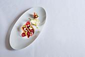 Millefeuille von rosé Rhabarber und Himbeeren mit Pistazien-Krokant-Eis