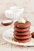 A stack of whoopie pies with sugar sprinkles