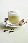 Asparagus cappuccino with bread