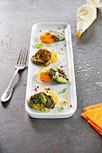 Asparagus and spinach fritters with carrot cream