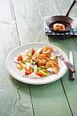 Escalope with asparagus salad
