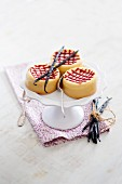 Cheesecake sables on a cake stand