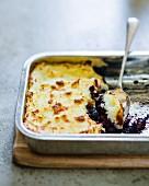 Black pudding bake with mashed potatoes