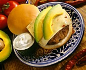 A South-West cheese burger with avocado and sour cream