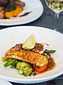 Fish with asparagus, broccoli and carrots