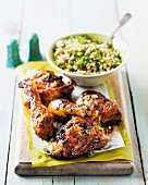 Spicy chicken pieces with a barley salad