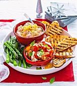 Dips and bruschetta platter