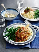 Leg of lamb with beans and couscous