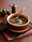 Black bean soup from Mexico