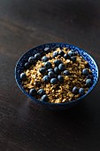 A bowl of muesli with fresh blueberries