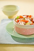 Rice with chicken, carrots and celery