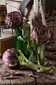 A rustic arrangement featuring fresh artichokes