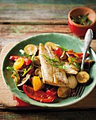 Quick ratatouille with fried fish