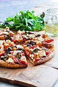 Vegetable pizza with feta cheese