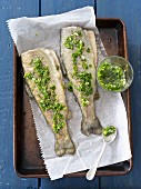baked trouts with parsley and lemon gremolata