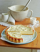 Lactose free New York cheesecake made with MinusL cream cheese and a mascarpone and lemon topping