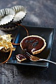 Chocolate tart with black salt