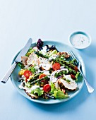 Grilled chicken breast salad with green asparagus