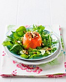 Cheese and salmon tartlet