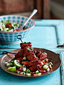Indian tandoori lamb skewers