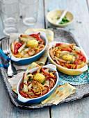 Paprika-Kartoffel-Auflauf mit Ei