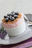 Lavender parfait with blueberries