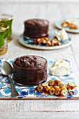 Sticky chocolate pudding with salted caramel peanuts