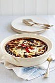 Mousaka with cheese and chilli peppers