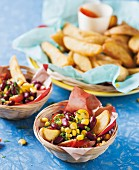 Potato wedges with a kidney bean and sweetcorn salsa