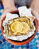 Vegan kleftiko with herbs and lemon