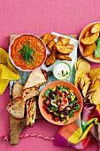 Mexican fondue, spicy bean dip, chorizo quesadillas