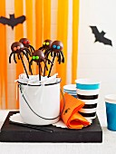 Halloween black spider cake pops