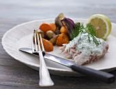 Fisch mit Dillsauce & Gemüsebeilage