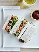 Peking duck and cucumber tea sandwiches