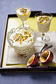 Granadilla mousse in dessert bowls