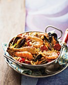 Paella with chicken, prawns, mussels and chorizo (Spain)