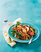 Chickpeas with chorizo and poached egg