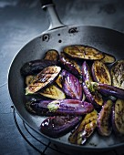 Fried mini aubergines