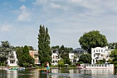 A beautiful view of the villas on Rondell Teich, Hamburg