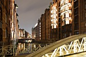 The high walls and narrow canals of the Speicherstadt, Hamburg