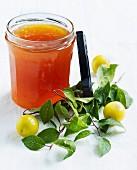 A jar of yellow plum jam