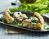 Mushroom quiche with chives and sour cream