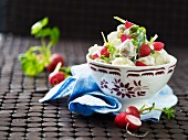 Mixed leaf salad with radishes and a youghurt dressing
