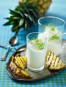 Lime sorbet with grilled pineapple