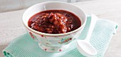 Spicy rhubarb chutney with chilli and cranberries