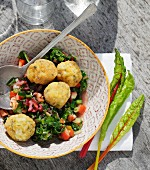 Crispy fish balls with a chard medley