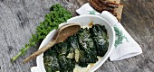 Green kale with a cheese and quark filling