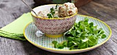 Pretzel and herb dumplings with lamb's lettuce